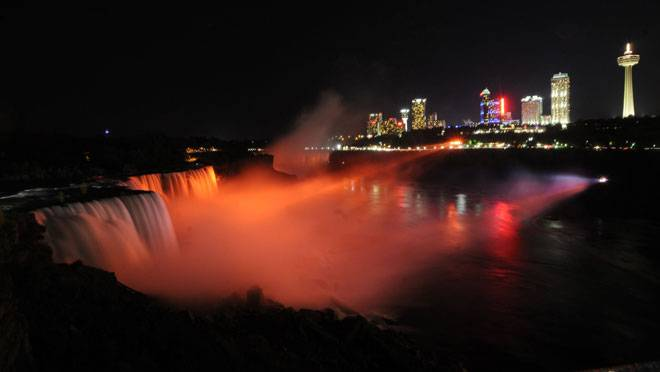 Orange Light on Niagara Falls